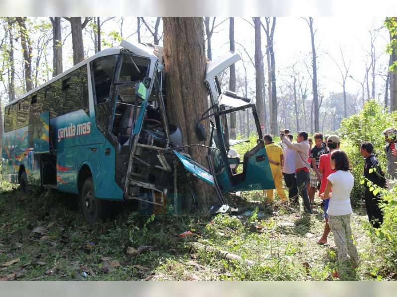 Bus Garuda Mas Jakarta-Cepu Tabrak Pohon Jati, Satu Orang Meninggal