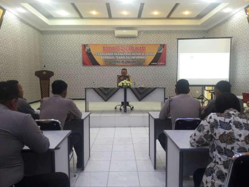 Polres Bojonegoro Sosialisasikan Aplikasi Penanganan Karhutla