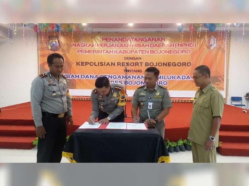 Polres Bojonegoro Tandatangai NPHD dengan Pemkab Bojonegoro