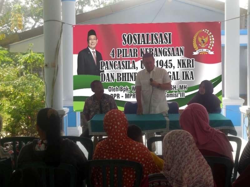 Anggota DPR-RI Wihadi Wiyanto Lakukan Sosialisasi Empat Pilar Di Desa Kalicilik Kec Sukosewu