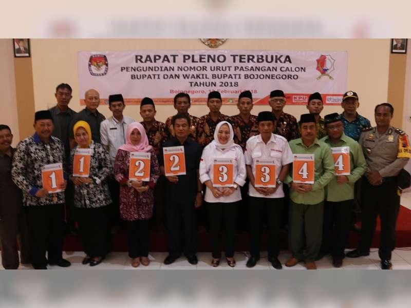 KPU Bojonegoro Tetapkan Nomor Urut Pasangan Calon Bupati - Wakil Bupati