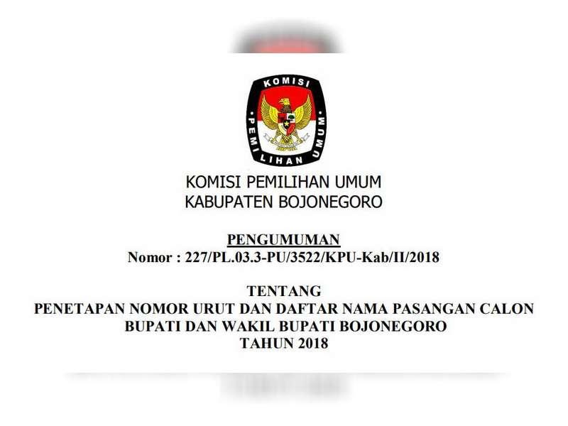 Penetapan Nomor Urut dan Daftar Nama Paslon Bupati dan Wakil Bupati Bojonegoro Tahun 2018