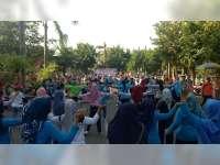 Ribuan Warga Ikuti Senam Dayung di Area CFD Alun-Alun Bojonegoro
