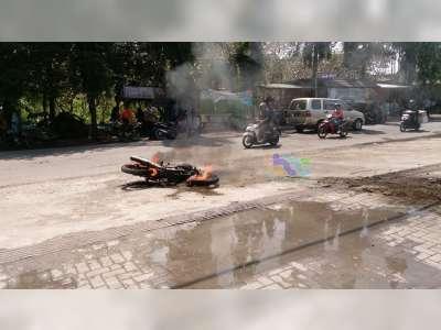 Kebakaran Sepeda Motor di SPBU Padangan Bojonegoro