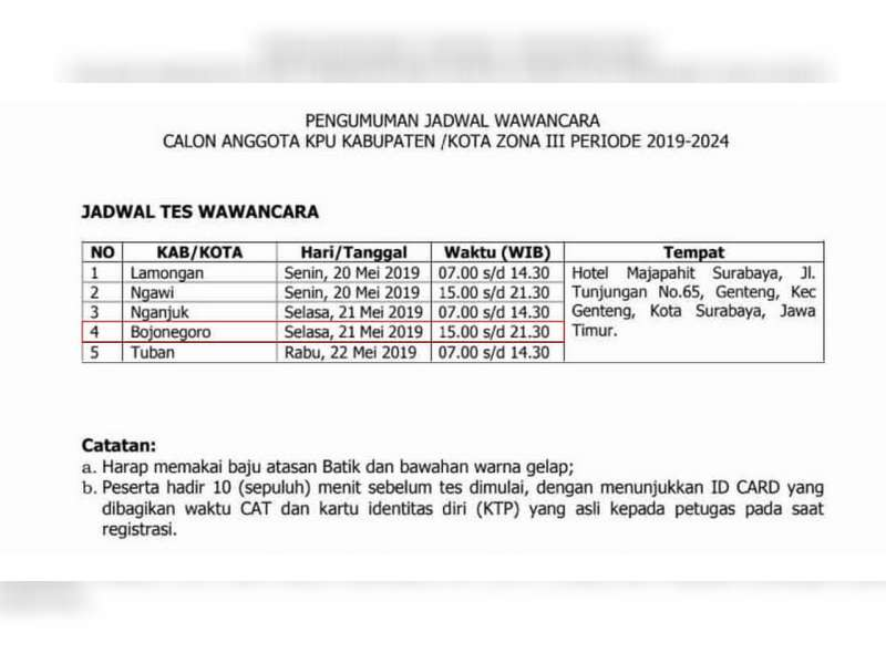Inilah Jadwal Tes Wawancara, Seleksi Calon Anggota KPU Kabupaten Bojonegoro
