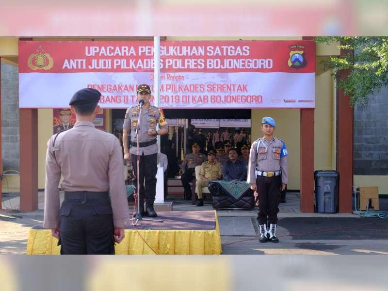 Antisipasi Perjudian dalam Pilkades, Polres Bojonegoro Kukuhkan Satgas Anti Judi