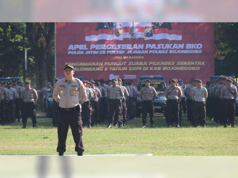 Polres Bojonegoro Gelar Apel Pergesesar Pasukan BKO untuk Pengamanan Pilkades Serentak 2019