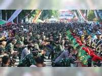 Tari Thengul Kolosal, Kolaborasi Anggota TNI dan Polri Meriahkan Peringatan HUT TNI di Bojonegoro